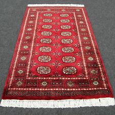 TAPPETO Orientale Buchara 154 x 98 CM ROSSO SCURO mano intessuti Bukhara Red Carpet Rug