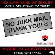 NO JUNK MAIL THANK YOU - SILVER SIGN - LABEL - PLAQUE w/ Adhesive 100mm x 35mm
