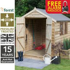 8x6 Pressure Treated Outdoor Wooden Garden Apex Double Door Shed Free Padlock