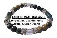 Emotional Balance: Moss Agate, Serpentine, & Unakite Stretch Bracelet w Free SH