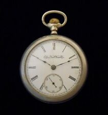 Elgin Rail Road Pocket Watch from 1892 Dueber Silverine Case Engraved Locomotive