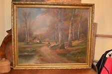 "Karl Kaufmann (1843-1905) Oil OC B. Lambert ""Gathering Wood"" Country Landscape"