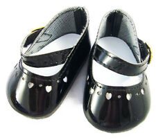 "For 15"" Bitty Baby Doll Clothes Black Patent heart Cutouts Dress Shoes"