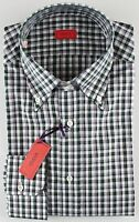 NWT ISAIA DRESS SHIRT check white green grey luxury handmade Italy 40 15 3/4