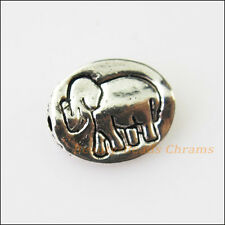15Pcs Antiqued Silver Tone Oval Animal Elephant Spacer Beads Charms 9x11mm