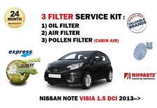 Per Nissan Note Visia 1.5 DCI E12 2013 - > Nuovo Olio Aria Polline 3 Filtro Servizio Kit