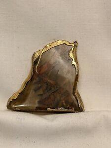 "Natural Jasper Pendant with Gold Leaf Trim 2"" L Brass loop"