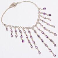 "Amethyst Gemstone Handmade Ethnic Style 925 Sterling Silver Necklace 18"" N-2"