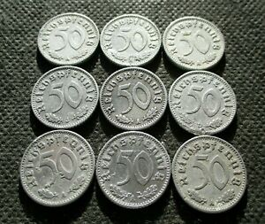 AUTHENTIC OLD COINS THIRD REICH GERMANY 50 REICHSPFENNIG WORLD WAR II - MIX 711