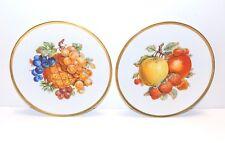 """Set of 2 JKW Western Germany Fine Porcelain Fruit Plates Gold Trim, 7 3/4"""""""
