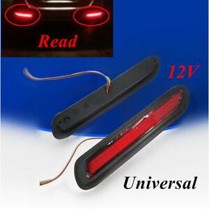 12V Red Lens LED Car Rear Bumper Reflectors Taillight Brake Fog  Light Univeral