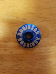 "Robinson BMX Repop Bicycle Headset Top Cap 1 1/8"" Blue Stem Cap Bolt Bike Dyno"