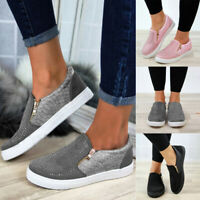 Women's Ladies Zipper Loafers Pumps Casual Slip On Flat Trainers Sneakers Shoes