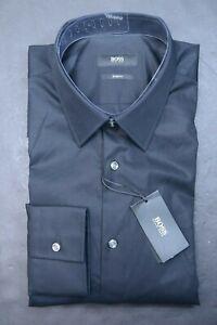 Hugo Boss Men's Astor Slim Fit Solid Black Cotton Dress Shirt 39 15.5