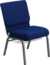 LOT OF 100 21'' WIDE NAVY BLUE FABRIC CHURCH CHAIR COMMUNION CUP BOOK RACK