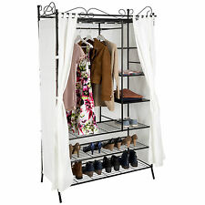 Metal wardrobe with curtains bedroom clothes storage hanging rail cupboard beige