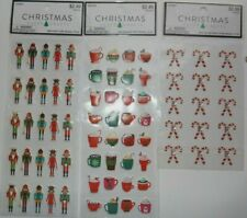 GLITTER CANDY CANE GEMS, PUFFY NUTCRACKERS, PUFFY HOT CHOCOALATE  3 PACKAGES