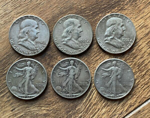 US 6 Solid Silver 1/2 Dollars Nice Condition