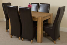 Kuba Chunky 125cm Kitchen Solid Oak Dining Table and 6 Brown Leather Chairs