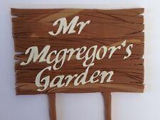 1 edible NAME MESSAGE PLAQUE wooden sign GARDEN cake topper DECORATION rabbit