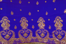 Royal Blue Bridal Bollywood Sequin Embroidery Sari Saree Costume danse du ventre