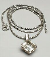 925 Sterling Silber Kette & 835 Silber Anhänger mit Bergkristall /A665