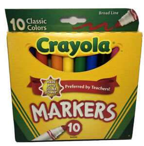 Crayola Classic Markers Broad Line 10 Pcs Preferred by Teacher Non-Toxic USA NEW