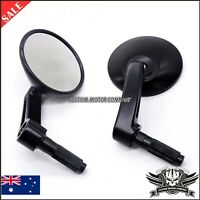 """Pair Motorcycle Universal 7/8"""" Handle Bar End Round Side Rear View Mirrors 22mm"""