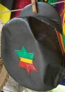 JAMAICAN LEATHER CAP, RASTAFARIAN, BLACK, RED, GREEN & GOLD