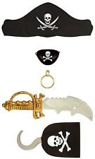 Captain Jack Pirate Set 5 Piece Kids Toy Fancy Dress Costume Sword Eyepatch Play