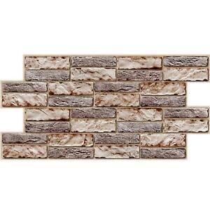 PVC 3D Grey Brown Stone Urban Industrial Interior Wall Panels Kitchen Cladding