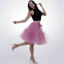 Women Tutu Tulle Skirts Midi Pleated 5 Layers 60cm Vintage Bridesmaid Petticoat