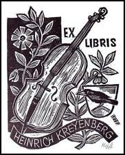 Huffert Hermann X2 Exlibris Bookplate Music Cello Bird Vogel 1101