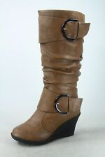 NEW Women's 5 Color Mid Calf Wedge Buckle Zip Round Toe Boots Shoes Size 5 - 10