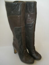 FLY GIRL  2 TONE LEATHER KNEE HI HEEL BOOT US 8 EUR 39 HOT RARE MADE IN PORTUGAL