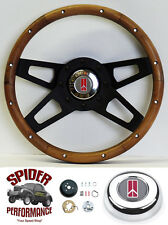 "1964-1966 Cutlass 442 F85 steering wheel OLDSMOBILE 13 1/2"" WALNUT 4 SPOKE black"