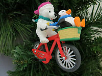Hallmark Polar Cycle Christmas Ornament Bear Penguin Bike QX6034 MIB 1996
