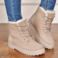 AU womens girls lace-up winter snow boots fur lined ankle boots shoes plus size.