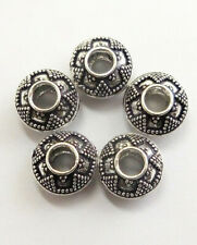 10 PCS 12X8MM BIG HOLE BEAD ANTIQUE STERLING SILVER PLATED 359UI