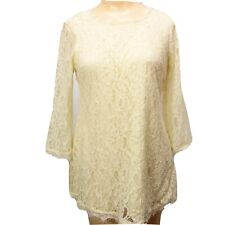 Motherhood Maternity Cream Lace Overlay Blouse Sz Small Exposed Zip Long Sleeve