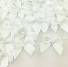 120 White Ribbon Bows Applique Sewing Bow Craft white New