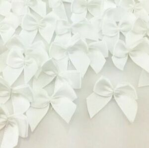 100 White Ribbon Bows Applique Sewing Bow Craft white NEW