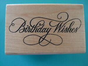 Birthday Wishes - Greeting in Elegant Font Rubber Stamp