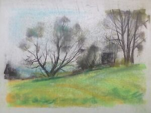 Franz Ehmke 1928 -2018 Pastel Meadow Field Edge Landscape Summer Antique GDR