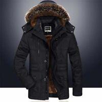 Mens Winter Fur Collar Coat Parka Jacket Hooded Fleece Lining Thick Warm Outwear