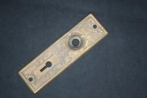 Vintage Antique Victorian Hardware Door Lock Plate Ornate Eastlake Copper Plate
