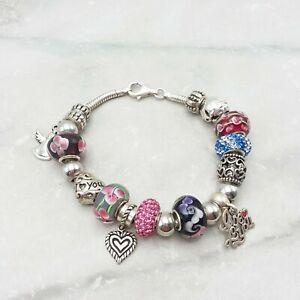 """Sterling Silver IBB Signed Charm Bracelet Hearts Love 19 Charms/Spacers 7.5"""""""