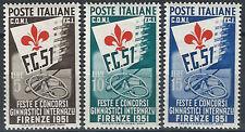1951 Italia Rep. concorsi Ginnici SL (MNH) Cat Sass 661/63 € 120,00