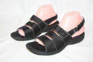 Grasshopper Lillie Purefit Comfort Black Slingback Sandal Shoes Size 9 W New