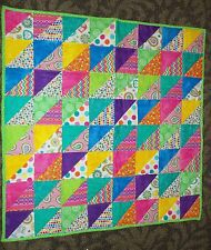"""New Handmade Modern Crazy Triangles Baby Crib Quilt Bright Colors 42 x 42"""" Girls"""